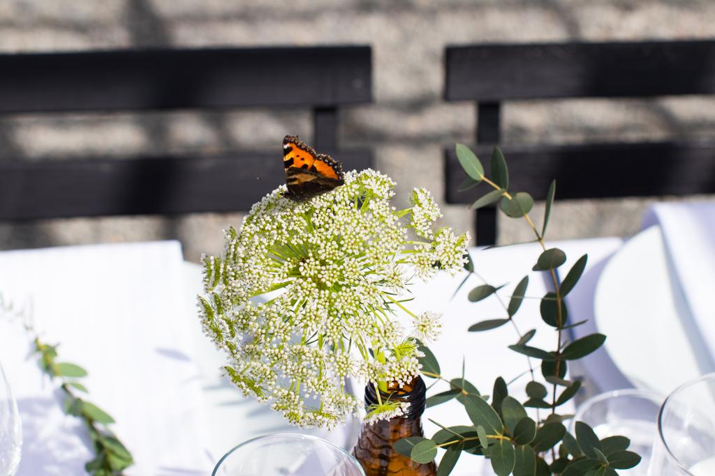 Grön Fotografering - Bröllopsdukning fjäril på besök | photobymj.se